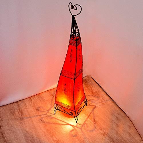 Orientalische Stehleuchte Alia Rot 100cm, Marokkanische Stehlampen Gestell aus Metall Lampenschirm aus Leder, Lederlampe Hennalampe Lampe, Lederleuchte 100% Handarbeit, 320339