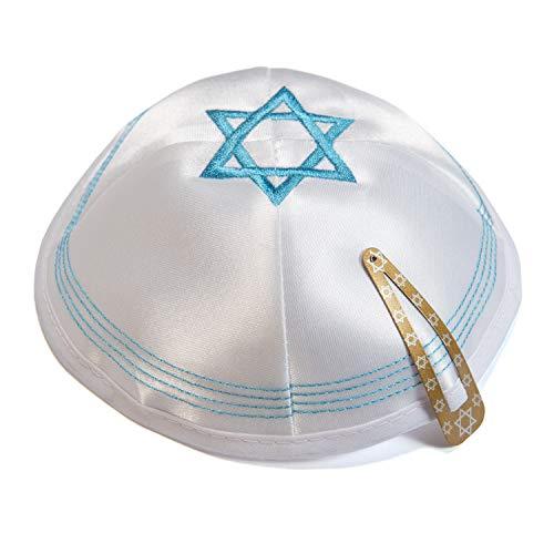JL Kippha's Satin 2cm Weiß Magen David Kippah jüdischen Cap Judaica Yarmulke Synagoge