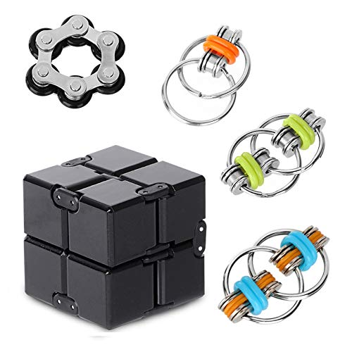 Anti-Anxiety Toys,Fidget Finger Toys,Cool Mini Gadget,Contain Infinity Cube ,Flippy Chain,Roller Chain, Relieving Stress Boredom ADHD Autism,Easy to Carry and Use