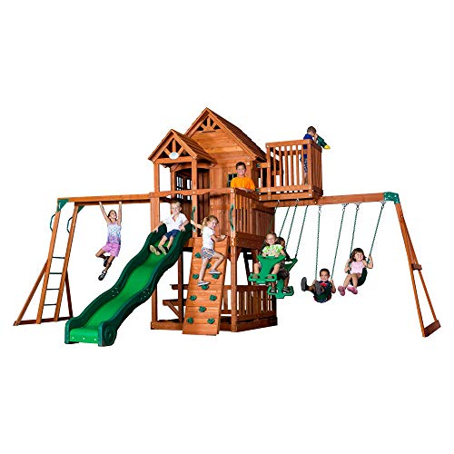 Kids Backyard Playhouse, Swing Set, Climbing Frames, Cedar Playset / DISCOVERY SKYFORT II