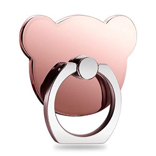 Soporte para teléfono MuStone, soporte para timbre para teléfono celular, soporte de metal giratorio en forma de oso de 360 grados para la serie iPhone, serie Samsung Galaxy, serie Huawei (Oro rosa)