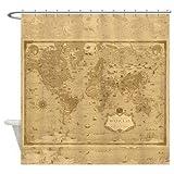 Ad4ssdu4 Duschvorhang Weltkarte Weltkarte Historisches antikes Bild Sepia Vintage Karte Home Decor Badezimmer Reise Blau Pirat Karte