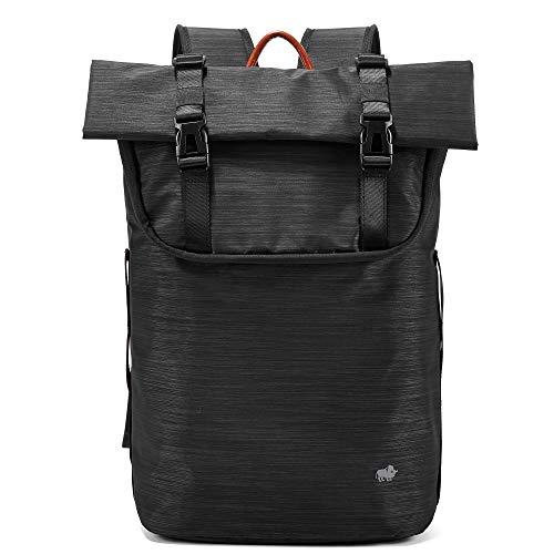 BISON SPIRIT Wasserdichter Laptop Rucksack Uni Casual Schulrucksack Business Daypack Reiserucksack für Damen und Herren (Schwarz-N2920)