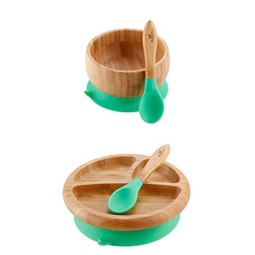"""Avanchy - Baby Feeding Plate + Bowl and 2 Spoons Set, Divided Bamboo Plate with Spill Proof, Stay Put Suction Ring, 7"""" × 2"""" Plate Size - Green"""