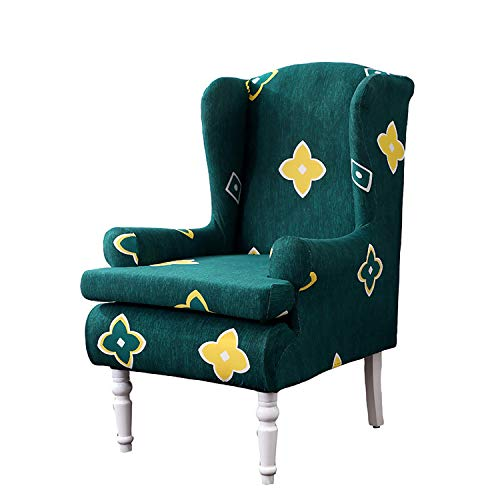 BHAHFL Armchair Slipcovers Ohrensesselbezüge Floral Tub Stuhlbezüge One Seat Chair Protector Zweiteilige Stuhlbezüge Spandex Stretch Sofabezüge mit Armdrucken Stoff Möbelschutz,B