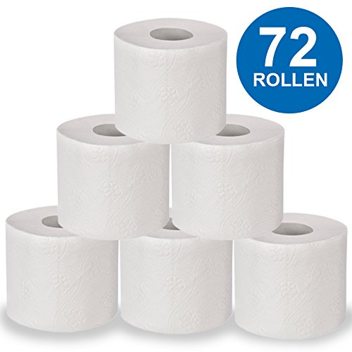 72 Rollen | Toilettenpapier Premium [ 3-lagig ] 250 Blatt je Rolle | besonders weich und soft | Klopapier aus Zellstoff