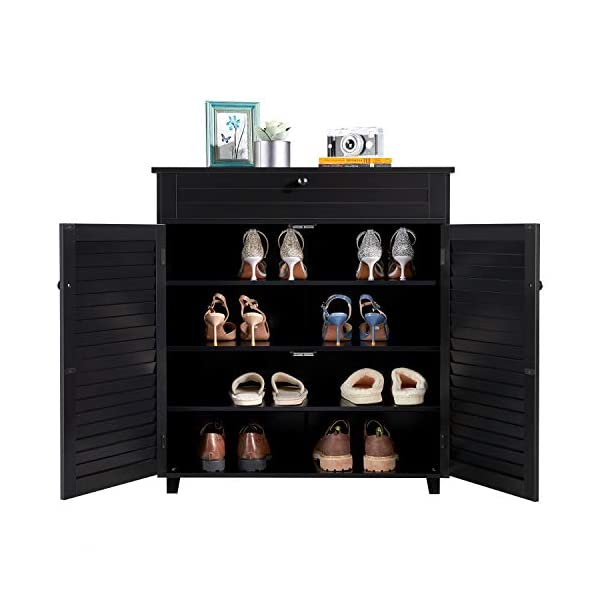 Topeakmart Shoe Cabinet Storage Container Black Wood Shelf with 4 Tiers for Entryway Bathroom Living Room