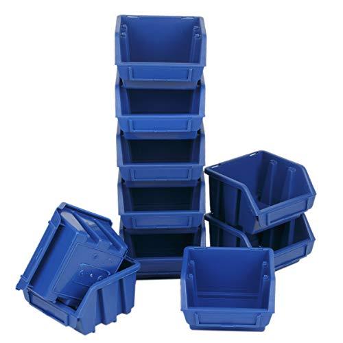 10 Stück Blau Werkstattkiste Werkstattbox Stapelbox Sichtlagerkasten
