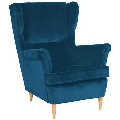 Max Winzer® Ohrensessel Clint, petrol (blau), Samtvelours, skandinavisch, Retro, 81 x 94 x 99 cm
