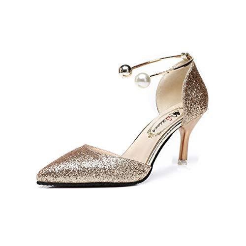DEBAIJIA Damen Klassische Pumps 6CM Pfennigabsatz Glitzer Hochzeit Party Schuhe Pailletten 38 EU Gold (Etikettengröße-39)