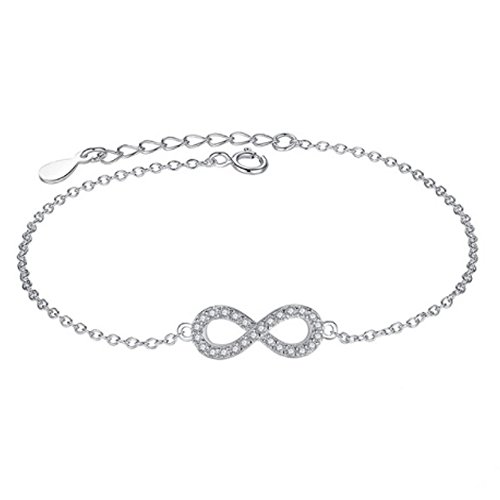 IzuBizu London Infinito Pulsera con Diamantes Plata Esterlina 925 - Caja de Regalo Gratuita