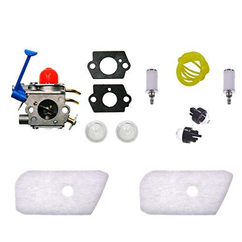 JRL Carburador Filtro de combustible Primer foco Filtro de aire Línea de combustible para Husqvarna 124L 125L 125LD 128C 128CD 128L 128LD 128LDX 128R Recortadora Zama C1Q-W40A