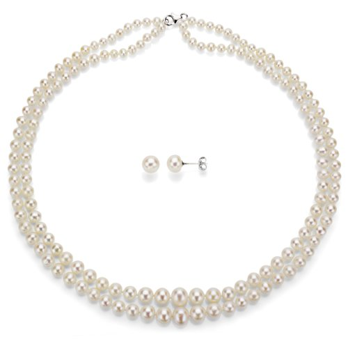 Sterling Silver Graduated 4-8.5mm 2-rows White Freshwater Cultured Pearl Necklace and Stud Set Earrings Valentines Day Jewelry (Difference Between Akoya And South Sea Pearls)