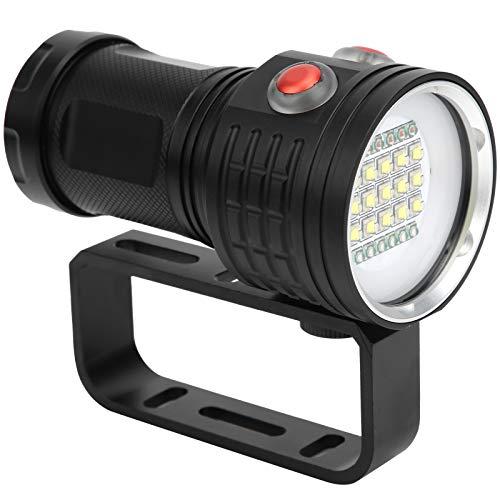 Alomejor Antorcha de Buceo LED, IPX8 Linterna de Buceo Impermeable Multifuncional 500M Luz de Relleno de fotografía subacuática