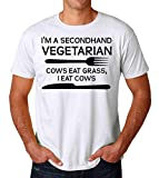 KRISSY I Am A Secondhand Vegetarian Cows Eat Grass I Eat Cows Men's T-Shirt Hommes Small