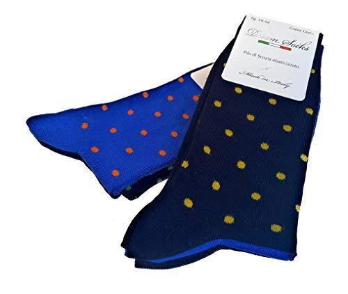 DREAM SOCKS 6 paia calze corte da uomo a metà polpaccio in cotone filo di scozia elasticizzate,calzini molto leggeri made in italy rimagliate a mano, disponibili vari assortimenti (43/46, set. pois)
