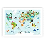 byGraziela Weltkarten Poster für Kinder | Lernposter