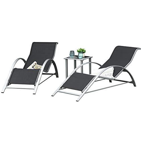 Outsunny 3-TLG. Gartenliege mit Tisch Gartengarnitur Gartensitzgruppe Gartentischset Metall Mesh Grau+Schwarz 2 x Sessel 1 x Tisch