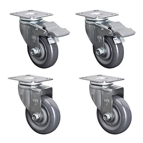 Casters Geräuschlose Industrieräder, 3-Zoll-Universalräder, 4 Doppelt Gelagerte Polyurethanrollen, Flexible Drehung, Stoßdämpfung Und Verschleißfestigkeit, Geeignet Für Fabriken Usw.