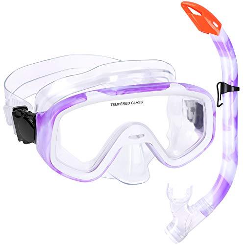 Kinder Schnorchelset Schnorcheln Taucherbrille mit 180° Panorama Sichtfeld Tauchmaske Schnorchelmaske Tauchen Set wasserdichte Schnorchelbrillen für Junge Mädchen (Lila)