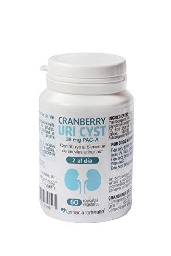 60 Cápsulas vegetales Cranberry Uri Cyst con concentrado de arándanos rojos, hoja de gayuba, Vitamina C y hoja de ortosifón para la infección del tracto urinario