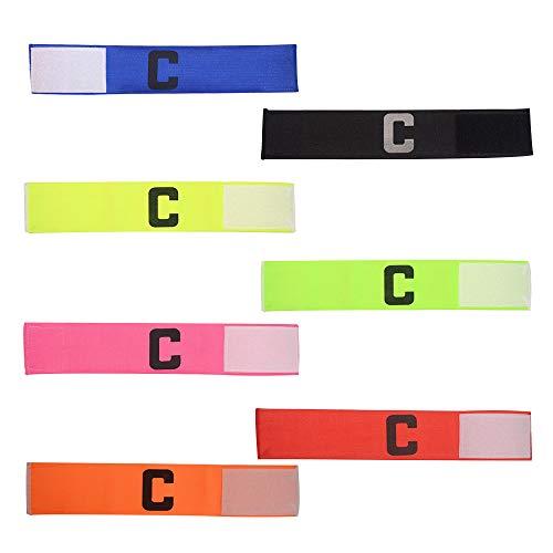 7 Stuks Voetbal Kapitein Armband Voetbal C Standaard Elastische Armband met Klittenband voor Kinderen en Volwassenen