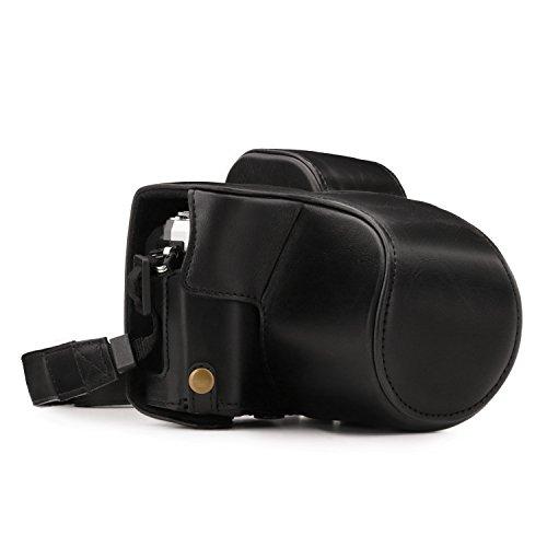MegaGear Olympus OM-D E-M10 Mark III (14-42mm) Ever Ready Leder Kamera-Case mit Trageriemen und Batteriezugang schwarz MG1345