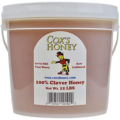 Cox's Honey - Bulk Honey Raw Unfiltered, 12 LBS | 100% Pure Clover Delicious Honey - Product of the USA
