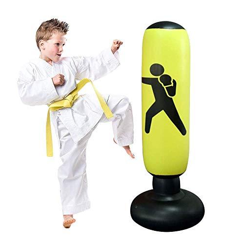 JanTeel Boxsack 160cm, Standboxsack Aufblasbare Boxsäule Tumbler Kinder/Erwachsene Fitness Dekompression Sandsäcke Kick Kampftraining, Freistehender Boxsack Trainer Punching Ball Sandsack (Gelb-C)