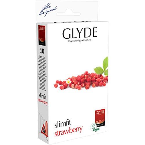 Glyde Ultra Slimfit Strawberry, 10 veganistische condooms met 49mm bredte, kleine roode condooms met aardbeiensmaak, zonder dierlijke ingrediënten als caseïne, gecertificeerd met de veganistische bloem