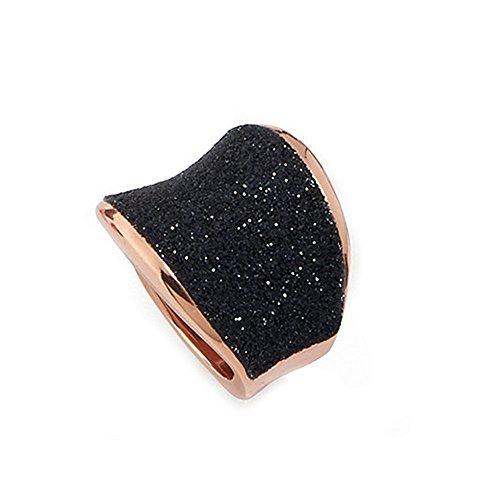 Polvere di Sogni Pesavento rosa broche de plata de ley y Negro sillín anillo polvo