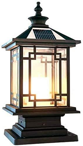 Luz de poste solar a prueba de agua Luces de pilar al aire libre cuadradas LED 5W Lámparas de jardín Luz de columna de cerca Puerta negra tradicional Porche Decoración de vidrio Farola Lámpara de mesa