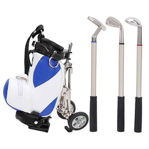 Desktop Golf Pen Set 3 Ballpoint Pens and Mini Bag Zinc Alloy Golf Pen Holding Bag, with a Cart Handle and an Operable Rubber Wheel, for Desk Decoration, Beautiful Souvenirs (Blue White)