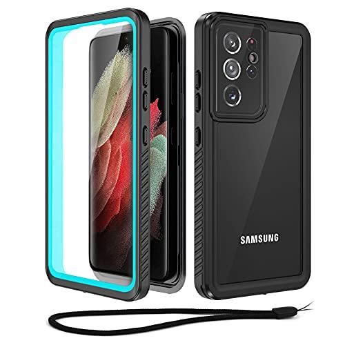 Beeasy Funda para Samsung Galaxy S21 Ultra 5G 6.8', IP68 Certificado Impermeable Sumergible Carcasa, 360° Protección con Protector de Pantalla Incorporado,Militar Antigolpes Antichoque Estanca, Azul