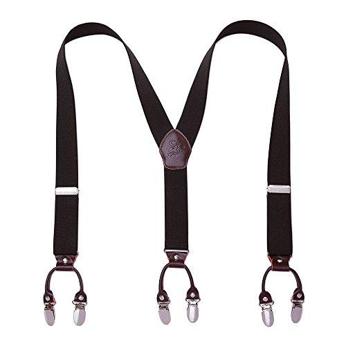 KANGDAI Mann Hosenträger Mode Einstellbare und Hohe Qualität 6 Clips mit Y Zurück Durable Breite Elastische Straps Hosenträger für Hosen Hosenträger (Herr schwarz)