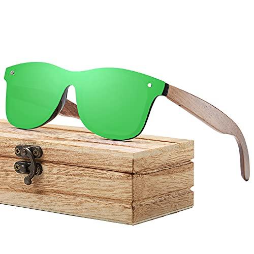 Gafas de sol de madera polarizadas | marco de madera fresca | caja de madera | para hombres y mujeres, color Verde, talla Talla única