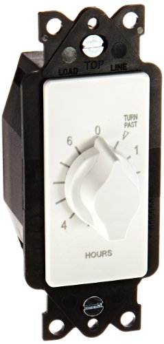 TORK A506HW Spring-Wound In-Wall Twist Timer , 6-Hour Length and White Faceplate, for Automatic Shutoff of Fans or Lights