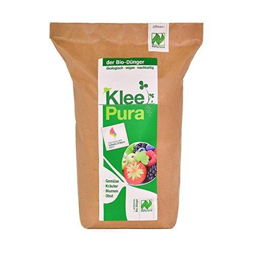KleePura der NATURLAND Bio Dünger aus 100% Bio Klee – 5 kg, rein pflanzliches (vegan) Bio Düngemittel, organischer NPK Dünger - ideal für Tomaten, Gemüse, Kräuter, Obst, Blumen und Grünpflanzen