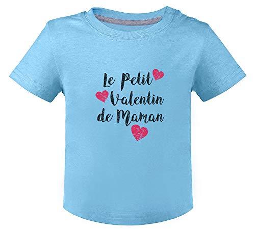 Green Turtle T-Shirts Petit Valentin de Maman Fête des Mères T-Shirt Bébé 12M Bleu Ciel