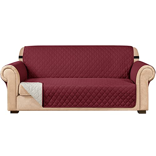 subrtex Funda de sofá Reversible Acolchada para 1,2,3 plazas Funda de Silla para Mascotas y niños con Correas Elásticas Protector de Muebles (2 Plazas, Burdeos)