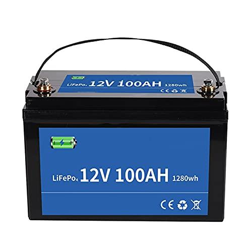 BateríA Lifepo4 de 12v 100ah BateríA de Fosfato de Hierro y Litio de Ciclo Profundo BMS Incorporado, con Cargador para AutomóVil, CamióN, Barco, RV, Tractor de CéSped y MáS,Negro,12V20AH