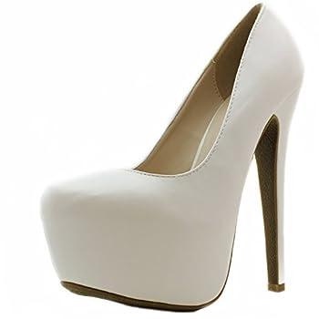 DailyShoes Women s Pointed Toe Platform Stiletto Heels High Closed Pumps Extreme 6.25  Ellen-31 White Pu 5