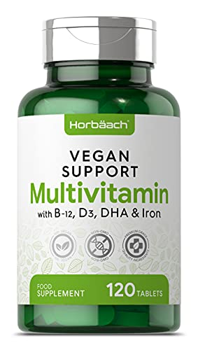 Vegan Multivitamin | 120 Tablets | with Vitamin B12, D3 & A | Vegan Omega 3 DHA & Iron | + Minerals to Support Plant Based Diet | 4 Months Supply | Non-GMO Supplement