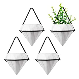 T4U Diamond Wall Planter Indoor, Set of 4 Geometric Wall Mounted Plant Holder Vase, Ceramic Succulent Air Plant Flower Pots Cactus Faux Plants Containers, White Modern Decor for Home and Office 7 - Made of Top-Quality ceramic and fired at 1200℃ temperature, modern and stylish, Quality Assurance. - Amazing diamond appearance makes it quite different from other classic wall planter. It's not a simple triangle container any more but a unique diamond decor on your wall, catching the first eye of people who passes by. - Made of iron and finished with black color, make the white diamond planter outstanding enough. You can put them in your living room, bedroom, kitchen, or study. Just anywhere you like.