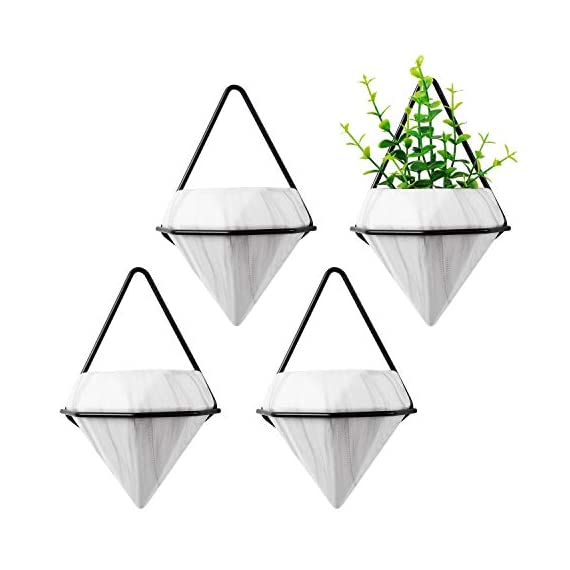 T4U Diamond Wall Planter Indoor, Set of 4 Geometric Wall Mounted Plant Holder Vase, Ceramic Succulent Air Plant Flower Pots Cactus Faux Plants Containers, White Modern Decor for Home and Office 1 - Made of Top-Quality ceramic and fired at 1200℃ temperature, modern and stylish, Quality Assurance. - Amazing diamond appearance makes it quite different from other classic wall planter. It's not a simple triangle container any more but a unique diamond decor on your wall, catching the first eye of people who passes by. - Made of iron and finished with black color, make the white diamond planter outstanding enough. You can put them in your living room, bedroom, kitchen, or study. Just anywhere you like.
