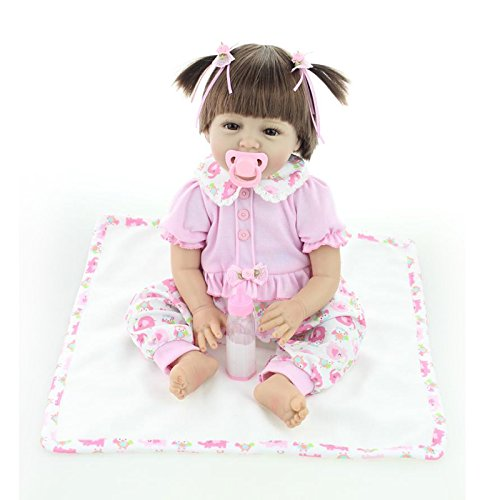 Nicery Baby Reborn Weich Silikon Stoffkörper Vinyl für Jungen und Mädchen Geburtstagsgeschenk 50-55cm Dolls gx55-52de