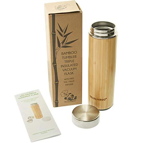 Großer, hochwertiger Becher 530 ml aus Bambus Edelstahl | Wasserflasche, Reisebecher | Dreiwandiger, vakuumisolierter Edelstahlbecher für Kaffee, inkl. Edelstahlsieb für Tee- oder Obstaufguss