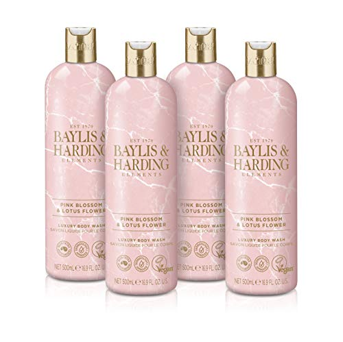 Baylis and Harding Elements Pink Blossom and Lotus Flower Bodywash, 500 ml (4 Stück)