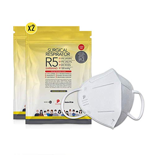 novita Surgical Respirator R5 Earband   FDA EUA Listed, FFP2, CE Certified   Made in Singapore   L Size   2 Packs x 8 Pieces in a Pack