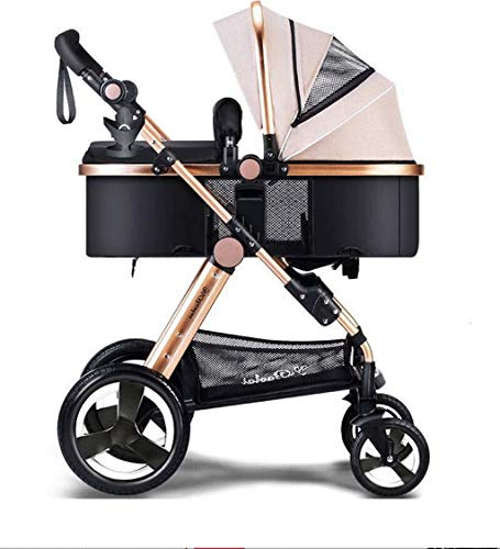 LANA El Cochecito Puede Sentarse Horizontal Mini Paraguas Plegable portátil de 4 Ruedas Carro de Choque Newborn Seasons Universal Travel Shade Opcional 3 Colores (Color : Chrome)